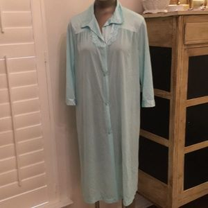 Aqua tricot nylon vintage vanity fair robe medium